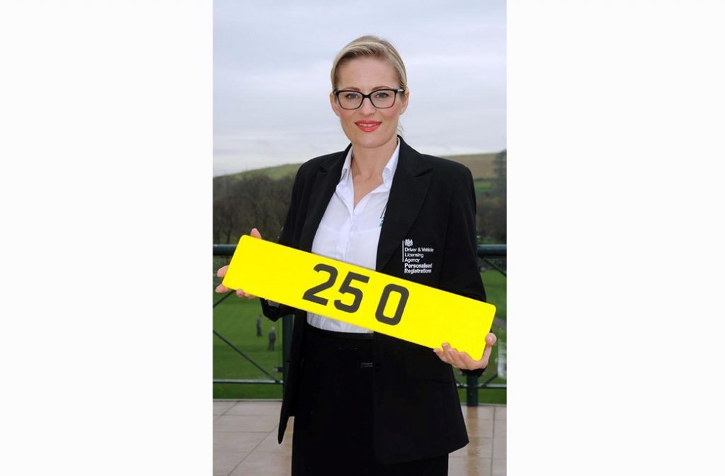 DVLA rep holding the most expensive number plate
